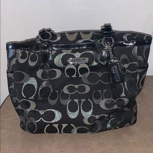 100% AUTHENTIC BLACK & SILVER COACH BAG